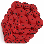 Red & Black Opaque 12mm D6 Dice Block